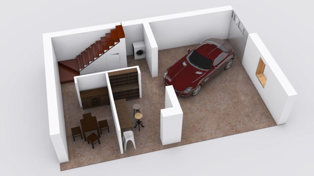 Villa belluno 02a for Piani di garage con deposito soffitta