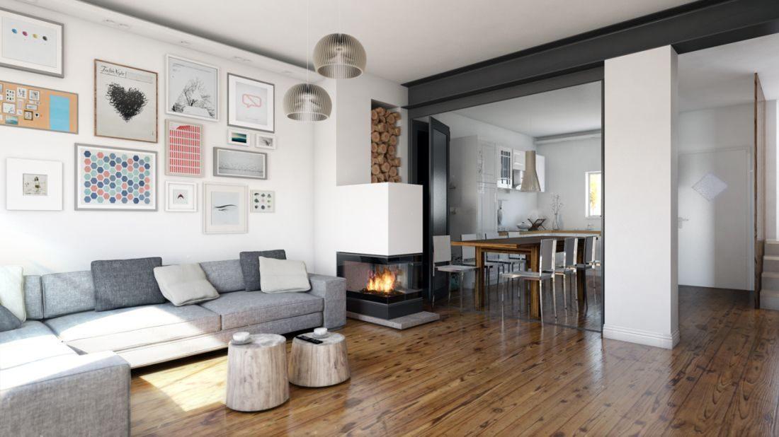 Progetto zona living vetrata aperta