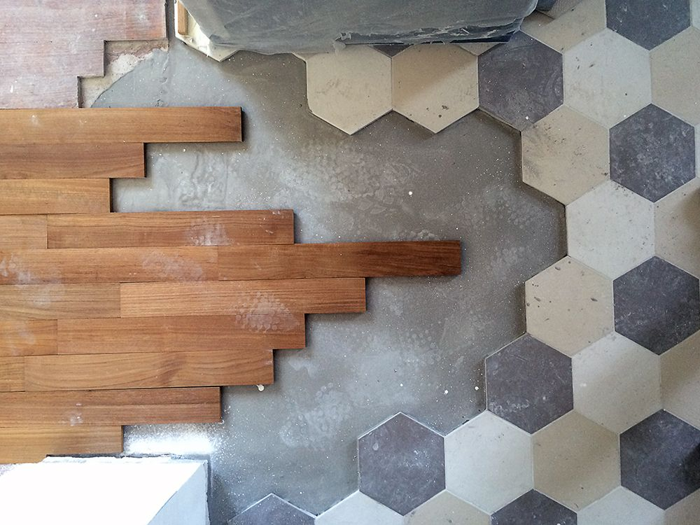 Pavimento cucina esagonale piastrelle esagonali gres rosso