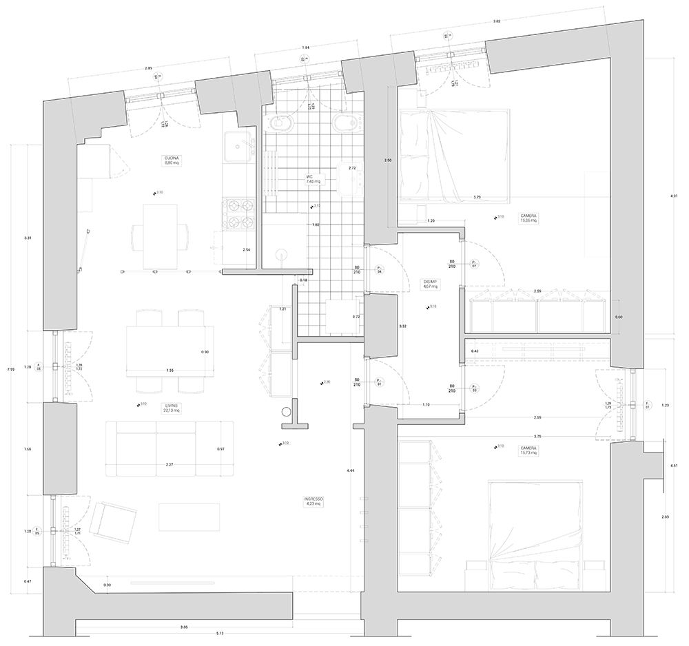 Casa 80 Mq Pianta ristrutturazione completa appartamento | roma - garbatella 80 mq